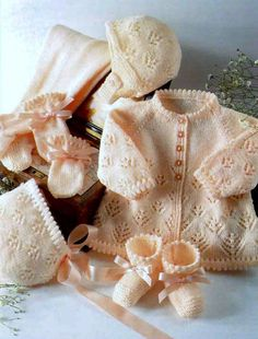 Vintage knitting pattern for baby jacket, leggings, booties, mitts and bonnet To fit: Chest - 16/18/20/22in (41/46/51/56cm)  Actual measurement -