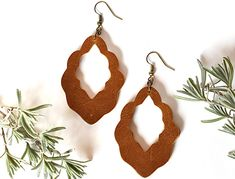 Sienna Brown Leather Moroccan Dangle Earrings Leather Jewelry, Antique Brass, Moroccan, Dangle Earrings, Brown Leather, Personal Style, Dangles, Cottage, Boutique