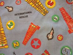 Thunderbirds Are Go! Vintage Curtains Great Fabric for Upcycling Gerry Anderson Supermarionation by AtticBazaar on Etsy Thunderbirds Are Go, Vintage Curtains, Kitsch, Upcycle, Symbols, Vintage Stuff, Science Fiction, Handmade Gifts, Fabric