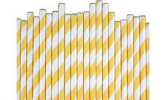 Yellow Stripe Paper Straws via- Layer Cake Shop Mini Milk Bottles, Yellow Paper, Cake Decorating Supplies, Cake Shop, Paper Straws, Colored Paper, Stylish Kids, Yellow Stripes, Wedding Favours