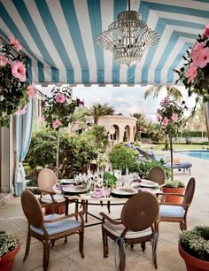 Traditional Outdoor Space by Mario Buatta and Thomas M. Kirchhoff in Palm Beach, Florida