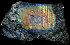 Spectrolite from Ylijarvi, Ylämaa, East Karjala, Finland (Spectrolite, found in Finland, is the harder / higher quality grade of the softer labradorite)