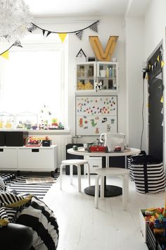 French By Design: Kids Playrooms - Black + white and yellow accents