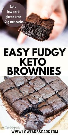 Easy Keto Brownies recipe is so fudgy, chocolatey, and less than net carbs a piece. Try these low carb brownies that melt in your mouth made with only 7 ingredients. Recipe via LowCarbSpark – Keto Recipes Low Carb Sweets, Low Carb Desserts, Easy Desserts, Low Carb Recipes, Dessert Recipes, Healthy Desserts, Easy Low Carb Meals, Good Recipes, Easy Keto Recipes