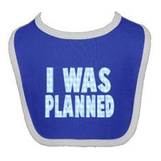 I was planned, boy Newborn Bib - Royal Blue and White $11.99