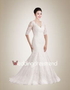 Fantastic Mermaid V-neck Sweep Train Lace Wedding Dress with Half Sleeves
