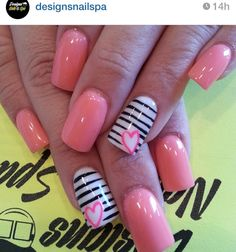 Very cool Nails! Creative and sexy. Will go with any outfit! #Nails #Beauty #Fashion #AmplifyBuzz www.AmplifyBuzz.com artists, heart nails, nailart, valentine day, pink nails, nail designs, nail arts, beauty, stripe