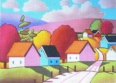 Sunny Roadway Hand Painted Canvases Cathy Horvath-Buchanan Maggie Co - Needlepoint Supplies Needlepoint Designs, Needlepoint Stitches, Needlepoint Canvases, Needlework, Hand Painted Canvas, Mexican Folk Art, Printable Art, New Art, Cool Art