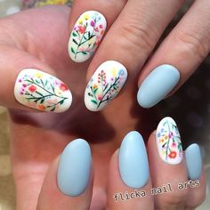 Here are some hot nail art designs that you will definitely love and you can make your own. You'll be in love with your nails on a daily basis. Spring Nail Art, Spring Nails, Summer Nails, Nail Art Designs, Flower Nail Designs, Nails With Flower Design, Cute Nails, Pretty Nails, Diy Nails