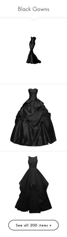 """""""Black Gowns"""" by robinnnnnnn ❤ liked on Polyvore featuring dresses, gowns, long dresses, vestidos, sweetheart neck dress, sweet heart dress, bridal dresses, sweetheart neckline dresses, brides dresses and prom ball gowns"""
