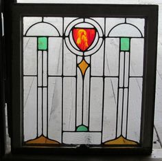 "Arts and Crafts  Leaded Glass Window  27 3/4"" x 29"""