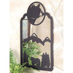 Black Bear Metal Art Mirror