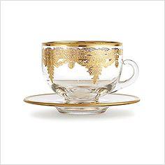 Arte Italica Vetro Gold Coffee Cup & Saucer