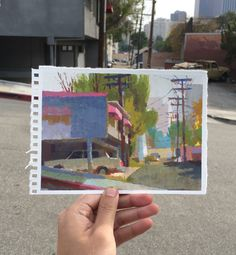 Peter Chan, I wanted to paint a mountain, but woke up too late so painted around DTLA instead.