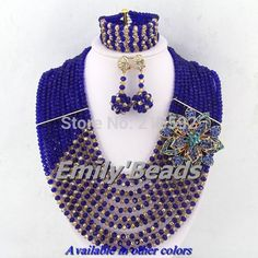 Find More Jewelry Sets Information about New Fashion African Beads Jewelry Set Royal Blue Mix Gold Nigerian Wedding Crystal Beads Necklaces Jewelry Set 10 Rows AEJ073,High Quality jewelry light,China jewelry vial Suppliers, Cheap jewelry bead from Emily's Jewelry DIY Store on Aliexpress.com