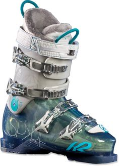 The K2 SpYre 80 ski boots for women offer new intermediates an emphasis on comfort with roomy footbeds, warm liners and soft flex. #REIGifts