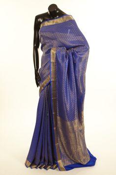 Mysore Crepe- crepe dark reynold ink blue saree with blouse