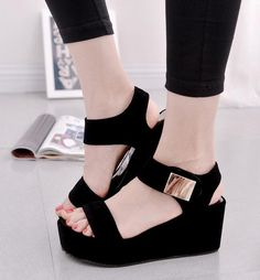 76d4b44f024 ... Quality platform sandals black directly from China sandals black  Suppliers  2017 Women Platform Sandals Black White Sexy High Heel Wedge  Sandals Fashion ...