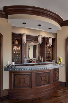 Elk River Theater for a Traditional Home Bar with a Curved Bar and Cranbrook Custom Home - Custom Home by Cranbrook Custom Homes Basement Bar Designs, Home Bar Designs, Small Basement Bars, Indoor Bar, Built In Bar, Bar Furniture, Retro Home, Mid Century House, Basement Remodeling