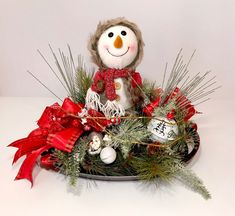 Plush Snowman Christmas Large Centerpiece, Happy Holidays Christmas Decoration, Fun Holiday Decor, Xmas Table Arrangement, Christmas Gift