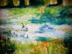 Carmen Moreno, KINDER AM FLUSS, Öl auf Leinen, 70 x 100 cm
