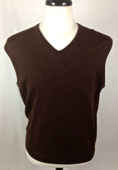 JOS A BANK Sweater Mens M Brown MERINO Wool Sleeveless Vest #JosABank #Vest