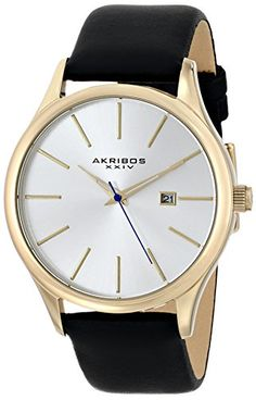 "Akribos XXIV Men's AK618YG ""Essential"" Gold-tone Stainless Steel Watch with Black Leather Strap Akribos XXIV http://www.amazon.com/dp/B00G2024H4/ref=cm_sw_r_pi_dp_nwWIub0R6N834"