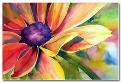 Beautiful colorful watercolor painting of Daisy flower.