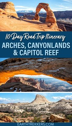Arches, Canyonlands and Capitol Reef National Parks road trip itinerary. Spend 7 to 10 days on this epic road trip. Learn how to add on Goblin Valley, Little Wild Horse Canyon, the White Rim Road, and the Needles. #usaroadtrip #nationalparks