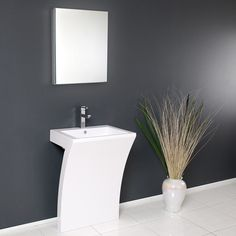 This all white vanity has the shape of the number 7 when viewed from the side. The Quadro is super stylish and very minimal, it will add a great effect to your bathroom. The included medicine cabinet