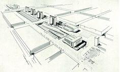 przedwojenna koncepcja zagospodarowania okolic dworca głównego od Marszałkowskiej na zachód