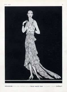 Chéruit 1929 Evening Gown, Jewels Art Deco, Fashion Illustration by    Douglas Pollard