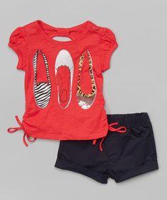 Look at this #zulilyfind! Coral Flats Tee & Navy Shorts - Toddler & Girls #zulilyfinds