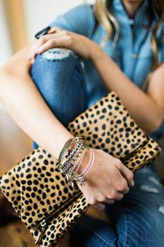 Fold Over Leopard Clutch  - stitch fix accessories.
