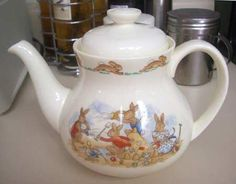 Teapot & Lid in the Bunnykins (albion Shape) pattern by Royal Doulton China