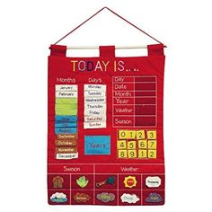 Today Is Children's Calendar Wall Chart by Alma's Design - Red