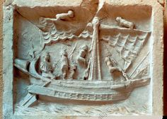 Roman ship 3618. Roman Merchant Ship Stone Carving From Pompei Dating From the 1 St. C. Ad [ Compare to ship in the mosaic. The sunken ship is like ones he knew. No one dived down and saw the boat.