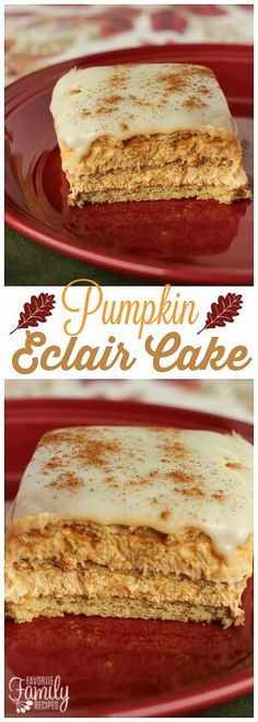 Pumpkin Eclair Cake is like a cross between pumpkin cheesecake and eclairs. One … Pumpkin Eclair Cake is like a cross between pumpkin cheesecake and [. Fall Dessert Recipes, Holiday Desserts, Just Desserts, Fall Recipes, Sweet Recipes, Delicious Desserts, Easy Fall Desserts, Weight Watcher Desserts, Dessert Party