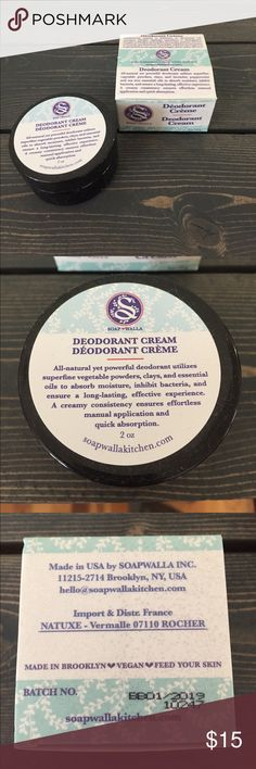 FINAL SALE🌲New Vegan Deodorant Cream Brand new and unopened, Vegan deodorant cream by Soapwalla , made in the USA of all organic ingredients and NO aluminum. Great cruelty free product that actually works!! These 2 oz jars go a looong way and easily last over a month or even two! Bundle to save or make an offer Soapwalla Other