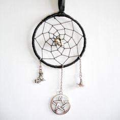 Gothic Black Gemstone Dream-Catcher With Silver by TattooedRoZe