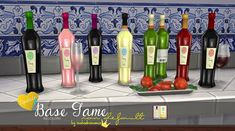 My Sims 4 Blog: Syrah & Sauvignon Blanc Bottles with Improved Textures and Size by Inabadromance