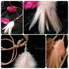 Superbe sautoir corde perles et plumes : Collier par ka-precioza