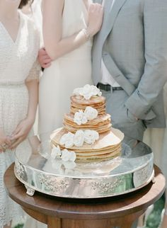 Met your hubby over breakfast!?! Pay homage to that with this super cool pancake cake! Yum!