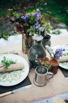 Natural Hessian Rustic Decor Table Lord of the Rings Woodland Bridal Wedding Editorial http://www.lucyturnbull.co.uk/