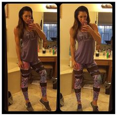 """""""IFBB PRO TARA RAMOS IS SHOWING OFF OUR NEW 3 RING MESH LEGGINGS IN THE PURPLE WAVES PRINT!! Looks great with our purple BE FIT logo tank! Text or DM for…"""""""