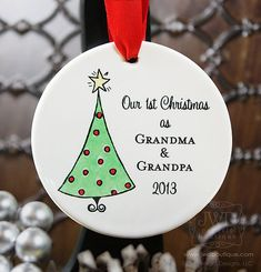 Grandma and Grandpa Ornament First Christmas as Grandparents Ornament Personalized Porcelain Ornament Christmas Tree - Item# XTR-O