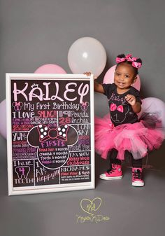 Minnie Mouse First Birthday Chalkboard 1st by CustomChalkPosters