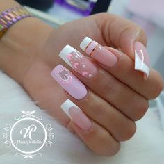 French Tip Acrylic Nails, Colored Acrylic Nails, Simple Acrylic Nails, Love Nails, Pink Nails, Pretty Nails, Nail Spa, Manicure And Pedicure, Semi Permanente