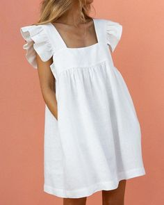 Shop Square Neck Ruffle Sleeve Dress right now, get great deals at joyshoetique Ruffle Sleeve Dress, Mini Dress With Sleeves, Short Sleeves, Jw Moda, Boho Dress, Dress Up, Dress Casual, Short Casual Dresses, Shirt Over Dress