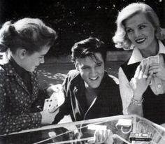 "Dolores Hart, Elvis Presley & Lizabeth Scott on the set of ""Loving You."""